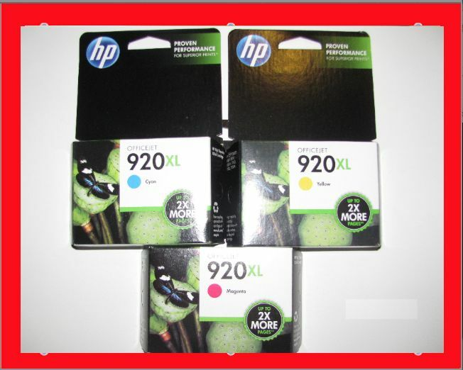 new genuine hp 920xl cyan magenta yellow color ink cartridges combo 3 pack 6500. Black Bedroom Furniture Sets. Home Design Ideas