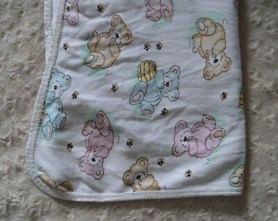 Vintage Pink White Seersucker Pique Bear Baby Blanket Puppy Books Balloon Blankets & Throws Baby