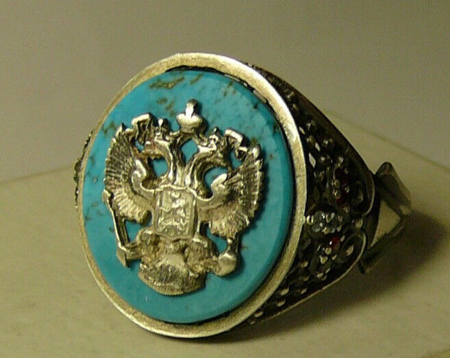 Imperial Russian Royal Eagle Ring Silver 84 w/ Turquoise White Topaz and Garnets