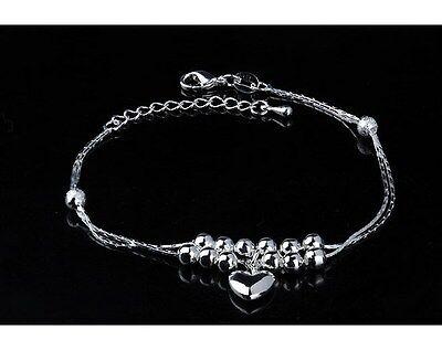 ADJUSTABLE Silver Anklet Bracelet Barefoot Sandal Beach Foot Heart Ball Chain AG