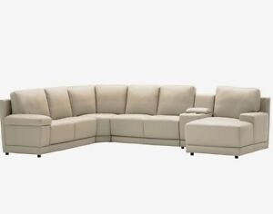 100% Opus Leather Lounge with Chaise Guildford Parramatta Area Preview