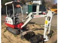 Mini Digger hire with driver in and around Cambridge area can also take away debris