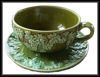 LEFTON - Over Sized Cup & Saucer ( Majolica Design )
