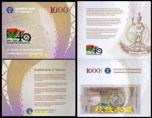 Vanuatu 1000 Vatu (2020), Commemorative, Polymer,folder UNC