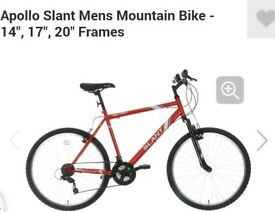 Mens slant mountain bike ... brought in summer only used a couple of times .