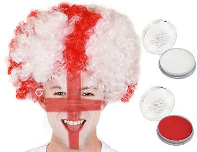 ENGLAND RED AND WHITE WIG WITH FACE PAINTS WORLD CUP 2018 FANCY DRESS