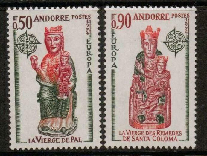 ANDORRA SGF256/7 1974 EUROPA CHURCH SCULPTURES MNH