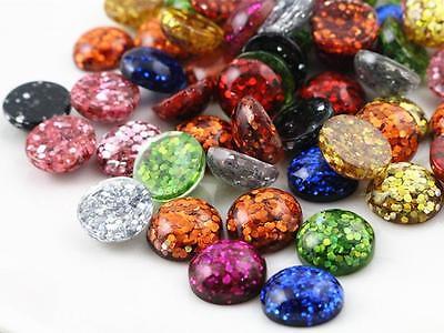 10pcs 12mm Glitter Resin Cabochons | Mixed Colours | UK STOCK