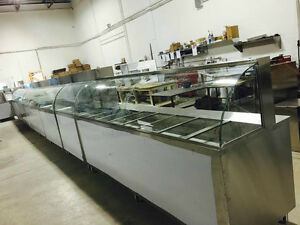 STEAM TABLE , HOT TABLE , CURVED GLASS , RECHAUD A VAPEUR