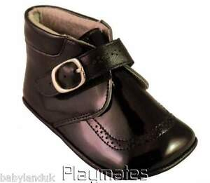 Sevva Soft Sole Baby Black Patent Leather Pram Shoes Boots