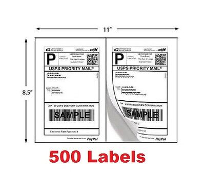 500 Shipping Labels Half Sheet Self Adhesive Printer Paper Usps Ebay 8.5 X 5.5