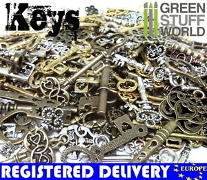 Steampunk-Set-85-gr-Gothic-KEYS-Mix-Jewellery-Beads-Charm-and-Pendant