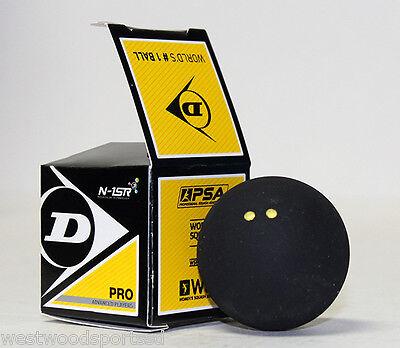 DUNLOP PRO DOUBLE YELLOW DOT SQUASH BALL (1) NEW IN BOX