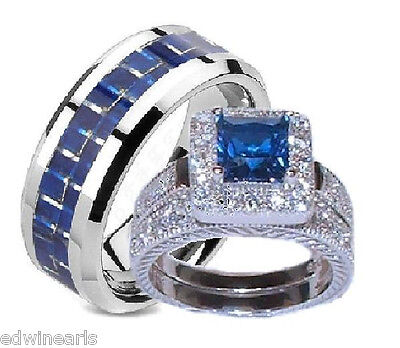 His and Hers Wedding Rings Sapphire Blue & Clear Cz Set Sterling Silver/Titanium - Blue And Silver Wedding