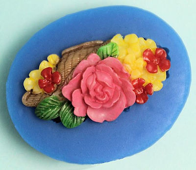 Flower Spray with basket on side Pink Silicone Mold - Fondant GP Chocolate Craft ()