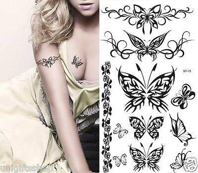 Supperb Temporary Tattoos  - Black Tribal Butterflies Elegant Temporary Tattoo ()