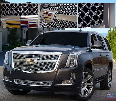 Cadillac ESCALADE 2015i 2016 2017 E&G CENTER BAR LUXE WEAVE GRILLE UPPER & LOWER