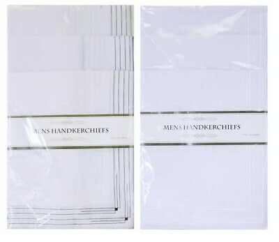Pack of 5 Mens Large Hankies Handkerchiefs White Plain Cotton Polyester Hanky