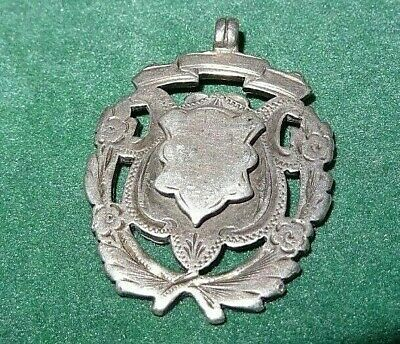 ANTIQUE ENGLISH SILVER POCKET WATCH CHAIN FOB MEDAL c1897/98