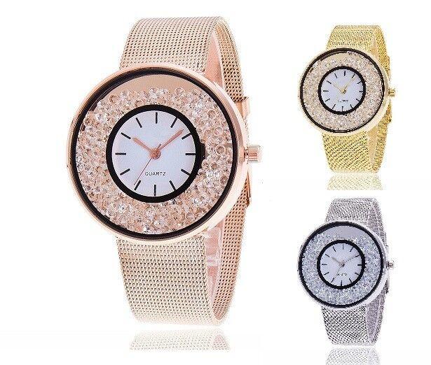 ASAMO Damen Armbanduhr mit Metall Armband und Strass Steinen Analog Uhr AMA088