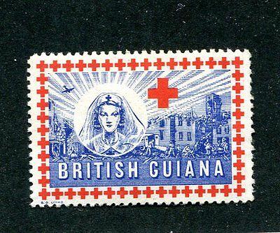 Vintage Poster Stamp WW2 BRITISH GUIANA RED CROSS nurse bomb scene