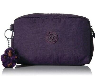 NWT Kipling Gleam Cosmetics Case pencil case in Deep Purple D10 (MSRP $29)