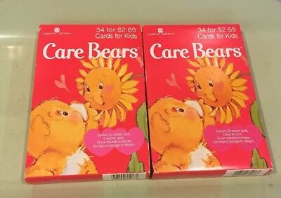 1995 American Greetings 2 Sealed Boxes of 34 CARE BEAR Valentine Cards for Kids](Kids Valentine Boxes)