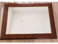 LARGE LACQUERED WOOD BROWN FRAME RECTANGLE OVERMANTLE OVERSIZE MIRROR