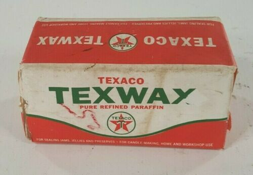 Vintage TEXACO 1 lb of TEXWAX Pure Refined Paraffin Wax 1964 Original Packaging