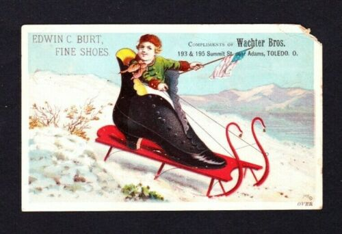 1890s Victorian Trade Card ~  Wachter Bros Shoes Toledo OH ~ Swan Style Sled