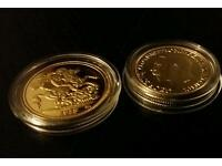 1913 gold plated sovereign coin x2 for £10 can post Quick sale see pictures king george