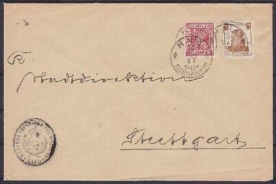 Württemberg Dienst Mi Nr. 230, 244 MifF Brief mit K1 Hall - Stuttgart 1917