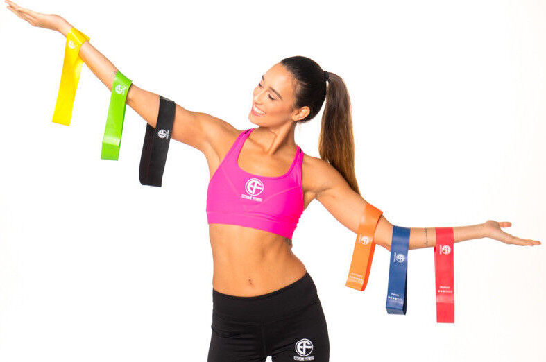 Resistance Exercise Bands Home Gym Stretch Yoga Physio Glute 6 Level Fitness