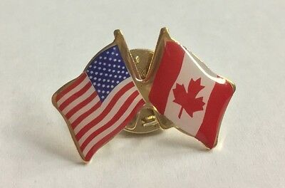 CANADA & USA Friendship Flag Lapel pin  *MADE IN USA*  Patriotic hat tack