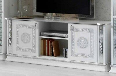 New Versace Venice White and Silver Italian Plasma TV Cabinet