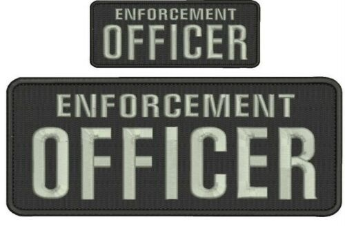 ENFORCEMENT Officer embroidery patches 4x10 and 2x5 hook on back silver