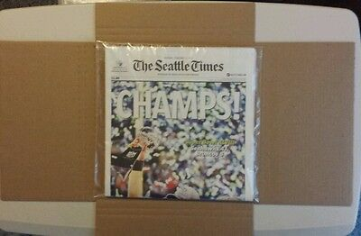 New  Seahawks Super Bowl Champs  Seattle Times Newspaper  2 3 14  Russell Wilson