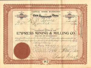 Empress-Mining-Milling-Co-1905-Arizona-mines-stock-certificate-share
