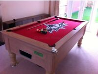 Solid wood Pool Table 6' x 4' custom cloth & real slate bed. Includes 2 sets of balls, cover & cues