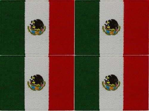 4 x MEXICO FLAG embroidered iron-on MEXICAN PATCH