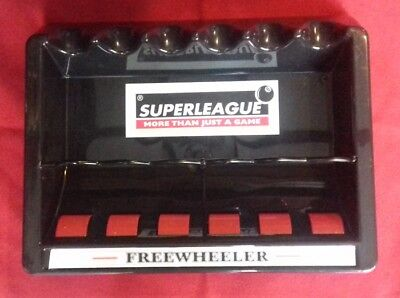 Superleague Freewheeler 6 cue rack Pool Snooker table Rollerball wall cue holder