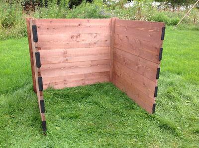 Compact Single Wooden Compost Bin Module Extendable Slot Down 75 x 72 x 72 cm
