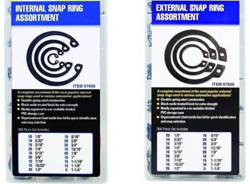 SAE Internal & External Snap Ring Retaining Ring Assortment Kit 600 Pieces Total