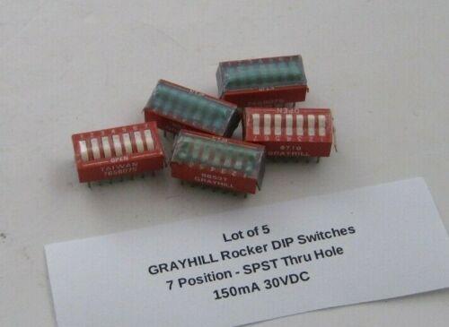 Lot of 5 GRAYHILL Rocker DIP Switches (7 Position) SPST Thru Hole - 150mA 30VDC