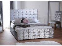Brand new Barcelona crushed velvet frame with memory foam mattress
