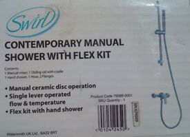 Swirl contemporary manual shower with flex kit - Brand New