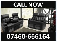 New 3 and 2 seater leather recliner sofa 438