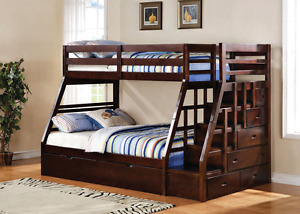 Bunk bed with stairs and drawers floor model blow out, only 2 le