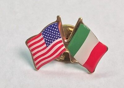 USA and Italy Crossed Friendship Flag Lapel Pin *MADE IN - Cross Pins
