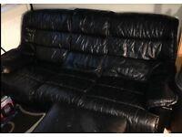 All black 3 piece leather suite